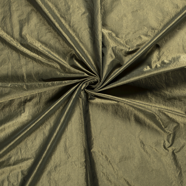 Taffeta fabric Khaki Green crushed