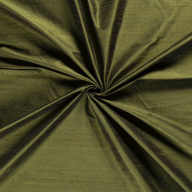 Silk Dupion fabric Khaki Green