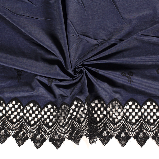 Denim fabric Black embroidered