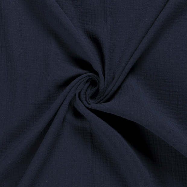 Muslin fabric Unicolour Navy