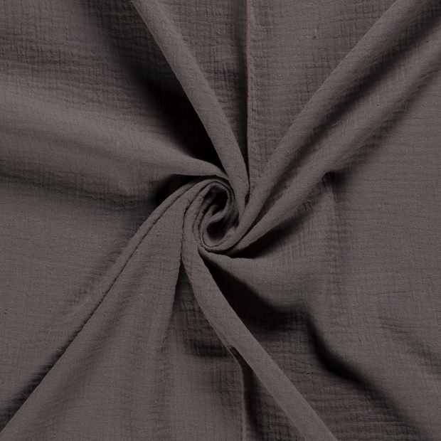 Muslin fabric Unicolour Taupe Brown