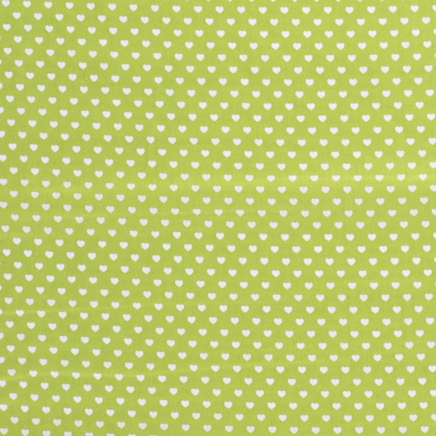 Poplin fabric Hearts Petrol