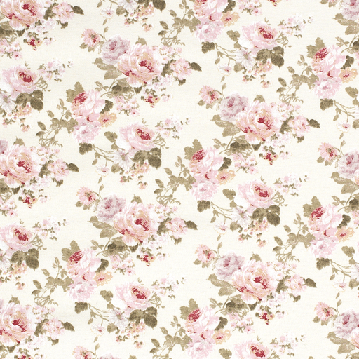 Ottoman fabric Flowers Off White