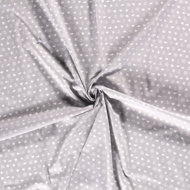 Poplin fabric Light Grey printed