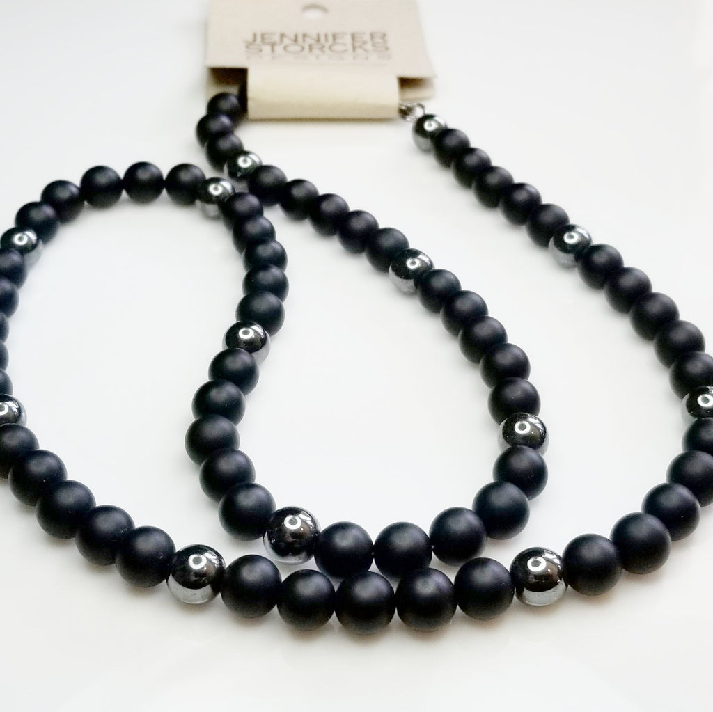 Matte Onyx with Hematite Beaded Necklace