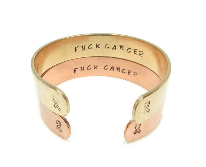 Hidden Mantra Cuff Bracelet, Fuck Cancer
