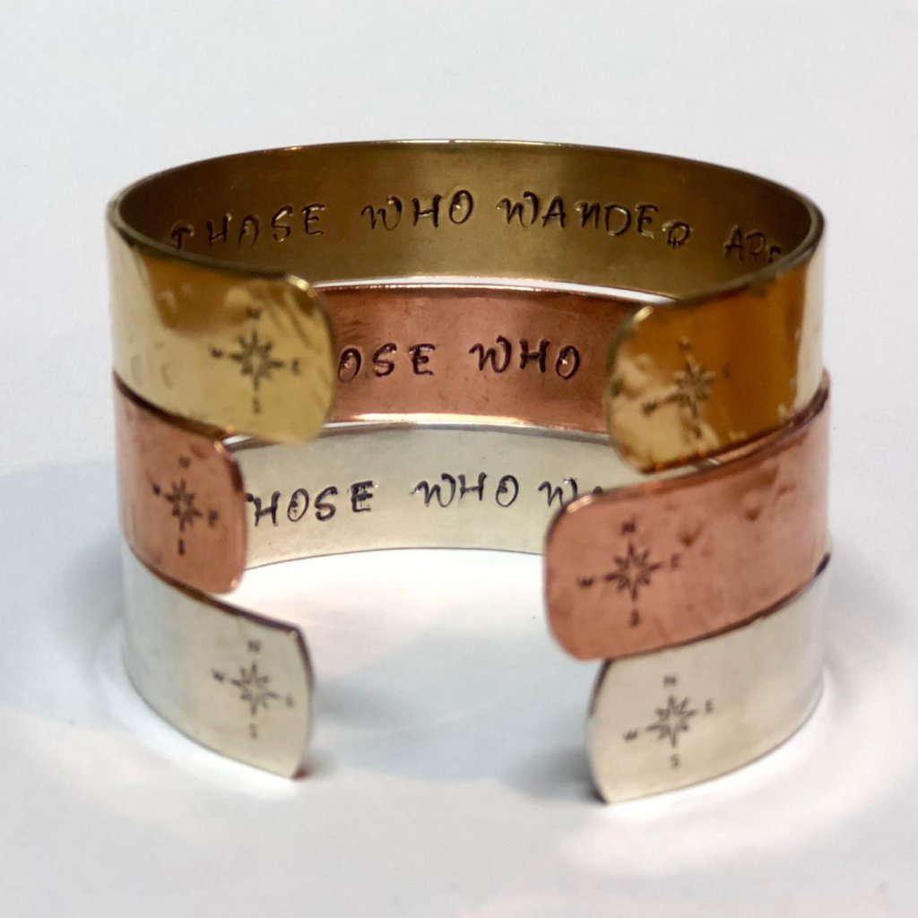Hidden Mantra Cuff Bracelet, Not All Those Who Wander Are Lost