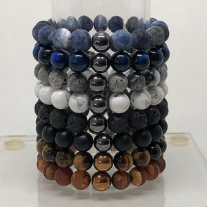 10mm Blue Tiger's Eye Beaded Bracelet with Hematite Accent Bead