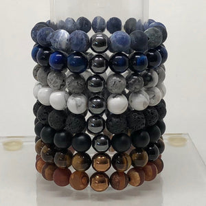 10mm Sodalite Beaded Bracelet with Hematite Accent Bead