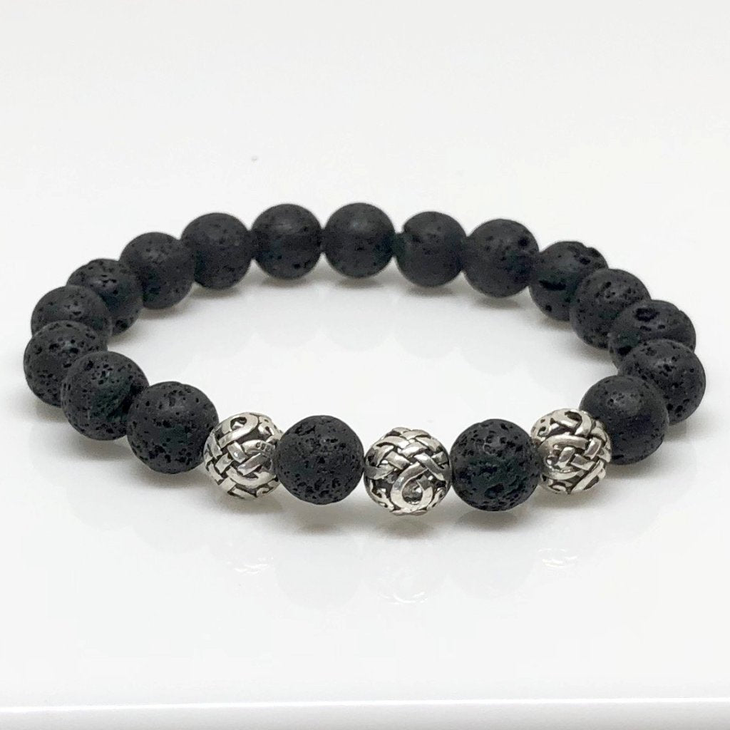 Deluxe 10mm Lava Rock Beaded Bracelet