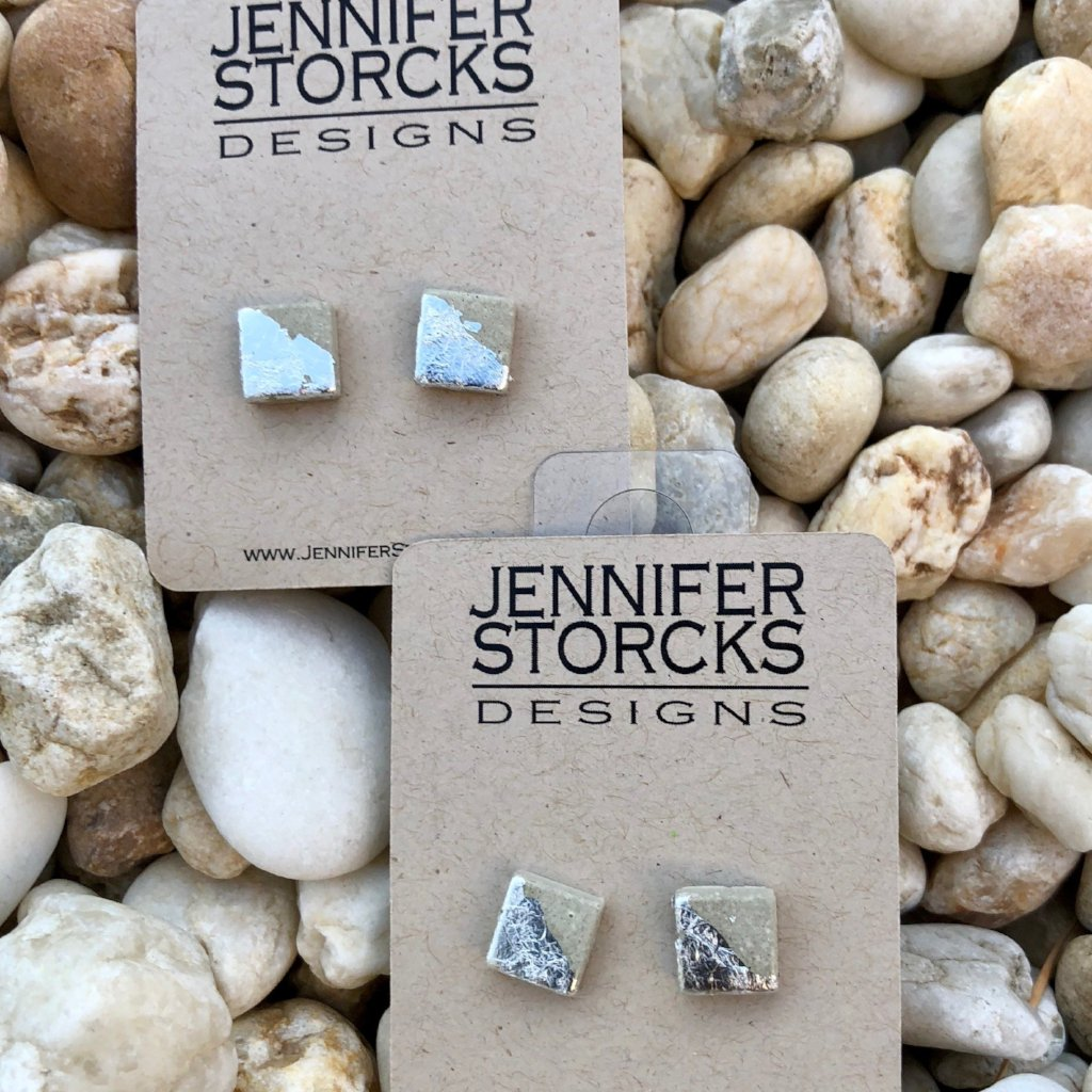 Concrete Stud Square Metallic Earrings