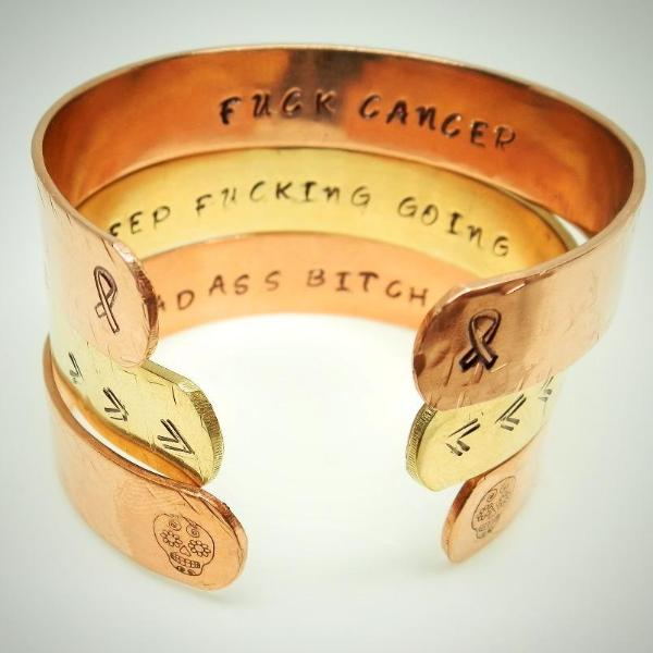 Hidden Mantra Cuff Braclet Fuck Cancer