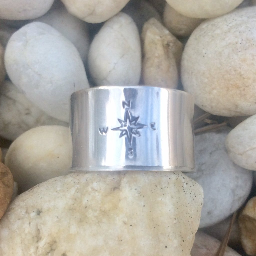 Sterling Silver Wrap Ring with Compass Design