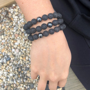 10mm Lava Rock Beaded Bracelet with Hematite Accent Bead