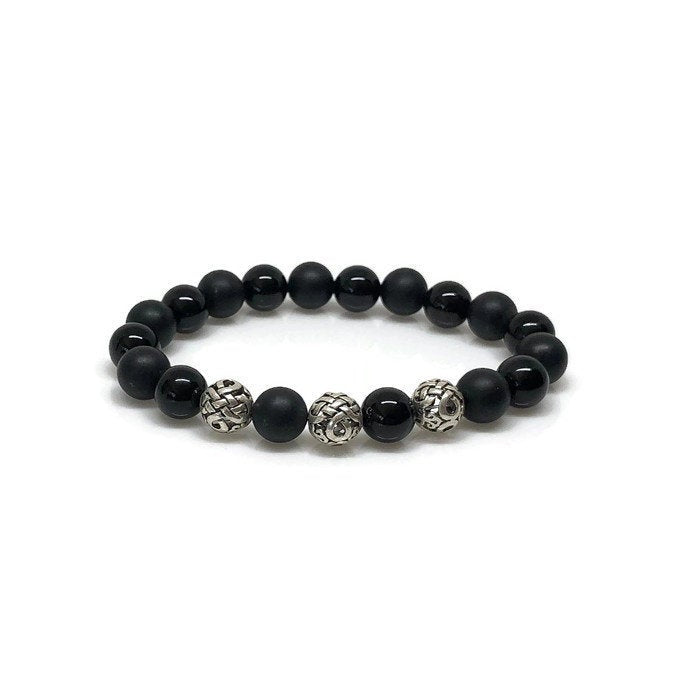 Deluxe 10mm Polished and Matte Onyx Beaded Bracelet