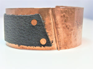 Copper an Leather Hand Forged Cuff