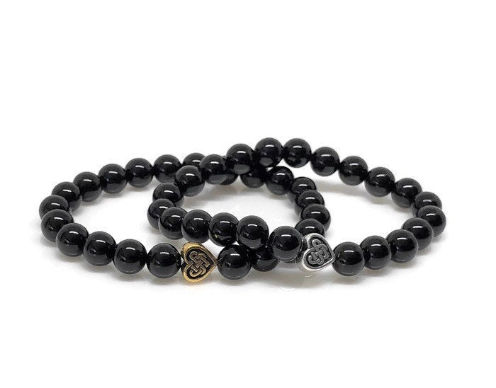 Polished Onyx Beaded Bracelet