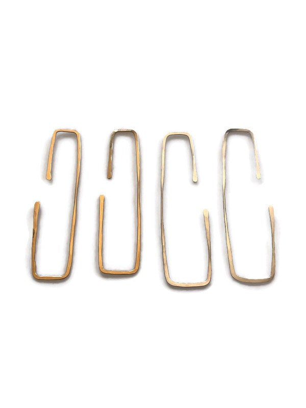 Rectangular Metal Wire Hoop Earrings