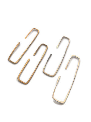 Rectangular Hoop Earrings, Gold