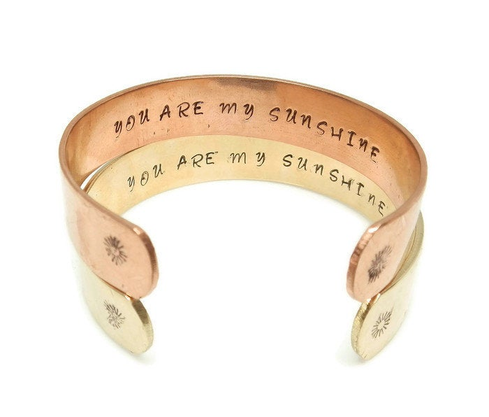 Hidden Mantra Cuff Bracelet, You Are My Sunshine