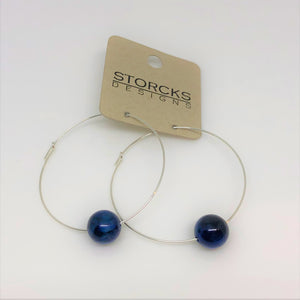 Large Sterling Silver & 14k Gold Hoop Earrings with a Bead