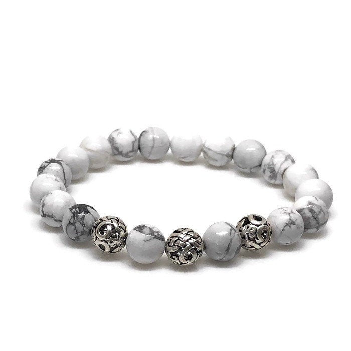 Deluxe 10mm Howlite Beaded Bracelet