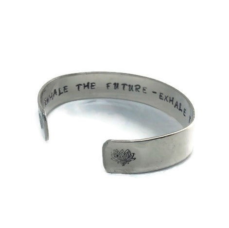 Hidden Mantra Cuff Bracelet, Inhale the Future - Exhale the Past