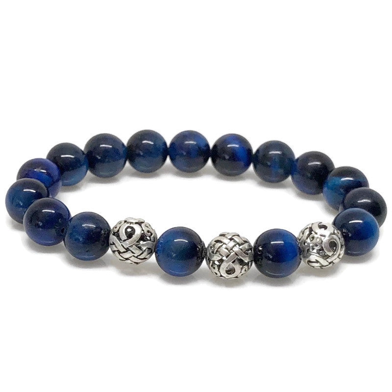 Deluxe 10mm Blue Tiger's Eye Beaded Bracelet