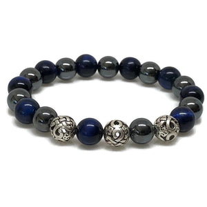 Deluxe 10mm Blue Tiger's Eye and Hematite Beaded Bracelet