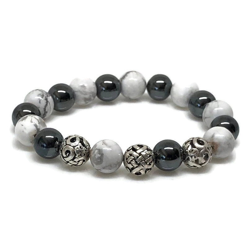 Deluxe 10mm Howlite and Hematite Beaded Bracelet