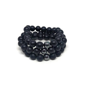 10mm Matte Onyx Beaded Bracelet with Hematite Accent Bead