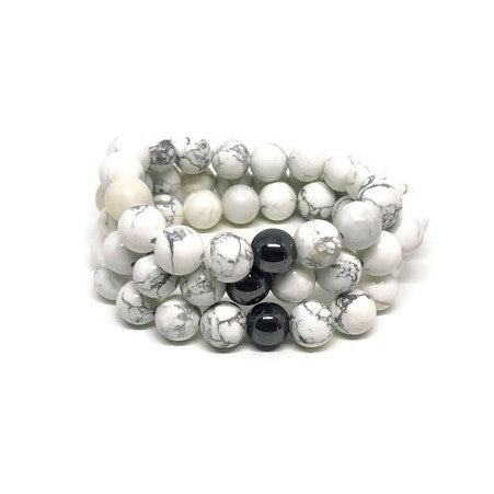 10mm Howlite Beaded Bracelet with Hematite Accent Bead