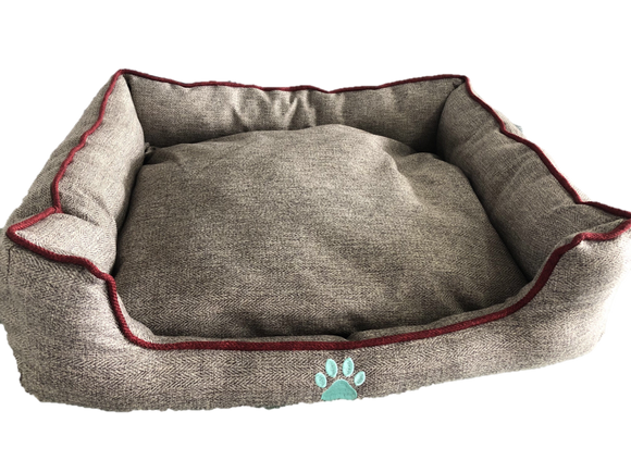 Paisley Paws 26 Inch Plush Brown With Red Trim Indoor Dog Bed