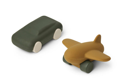LIEWOOD Kevin car & airplane - 2pack Grønn