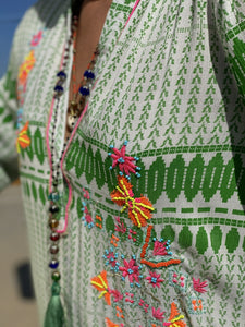 Place du soleil Dress with embroidery Grønn