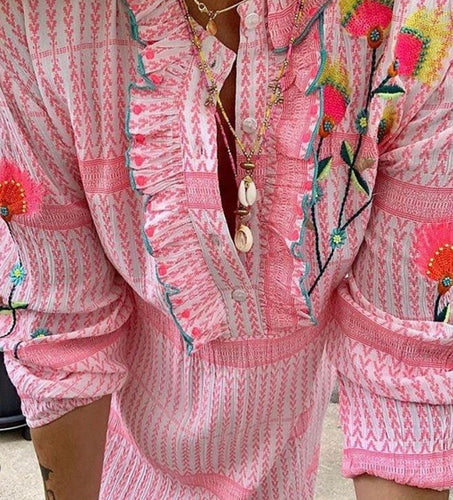 Place du soleil Long sleeve pink dress w embroidery Rosa