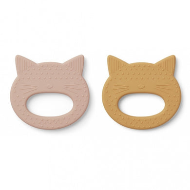 LIEWOOD Geo Teether 2 pack Cat,sennep/rosa