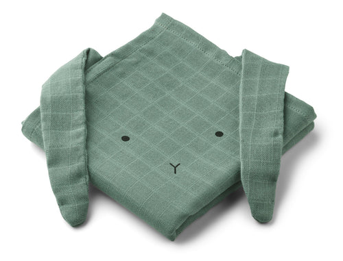 LIEWOOD Hannah Muslin cloth rabbit 2 pack Mintgrønn