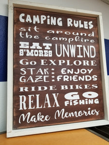 16 x 20 Camping Rules Canvas Framed Print