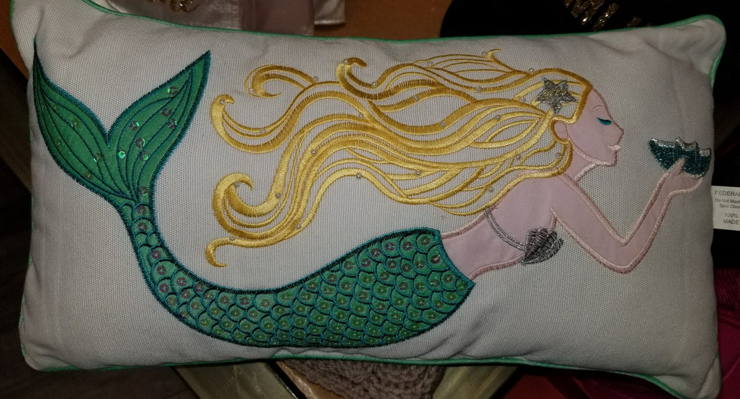 Mermaid Embroidered Accent Pillow