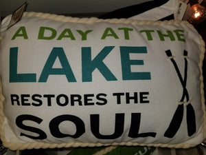 Lake Pillow With Rope Trim