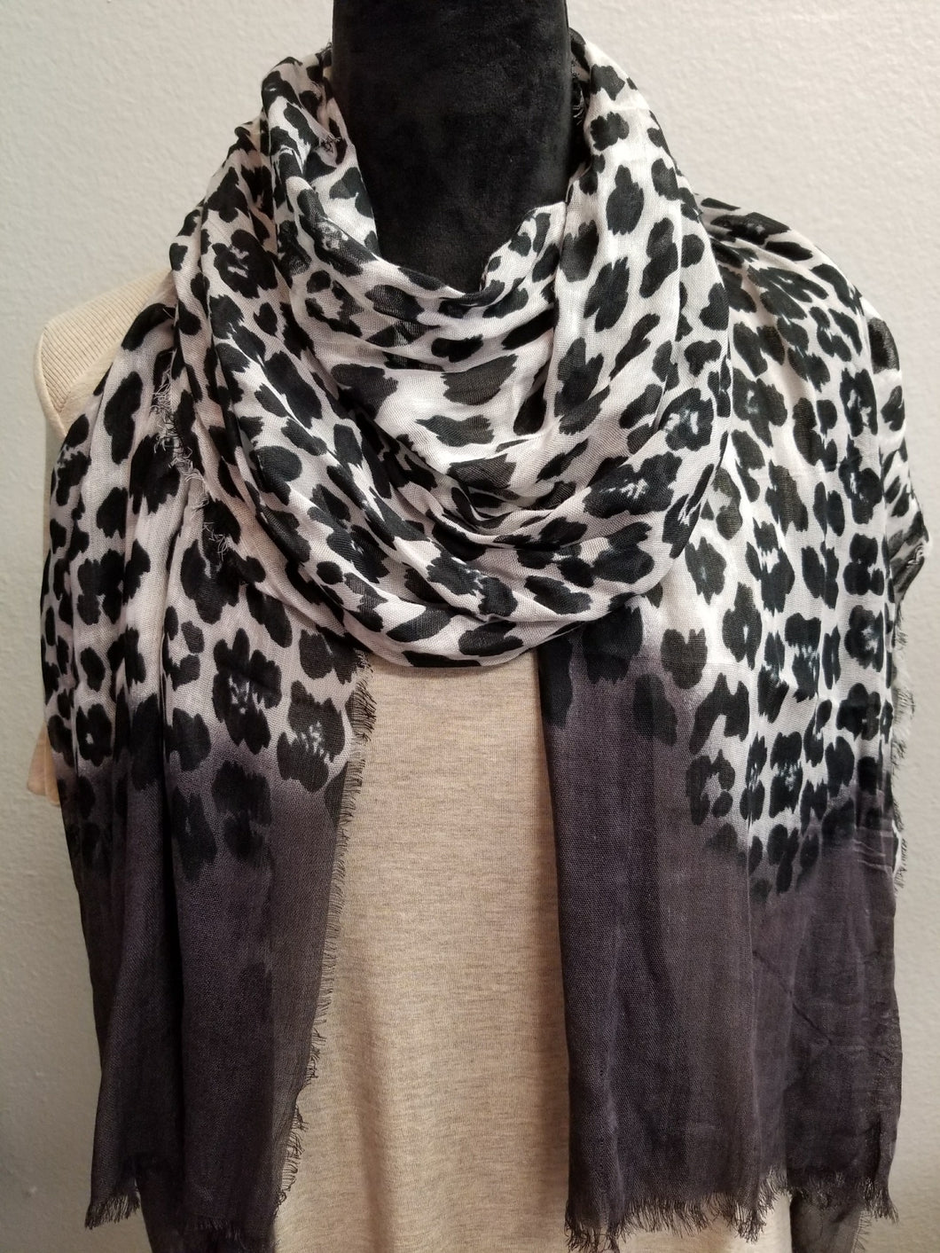 Leopard Print Scarf with Charcoal Tips