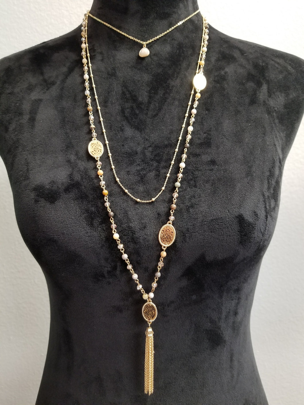 3 Tiered Gold Beaded Necklace
