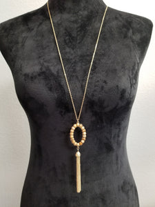 Gold Chain w/Tan and Brown Beads and Tassel