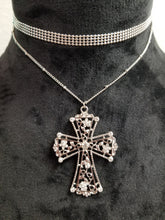 Load image into Gallery viewer, Cross Choker Necklace with Earring Set