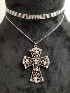 Cross Choker Necklace with Earring Set