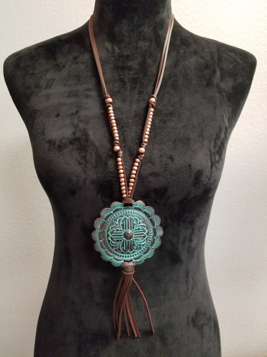 Beaded Rope Chain w/Turquoise Medallion Necklace