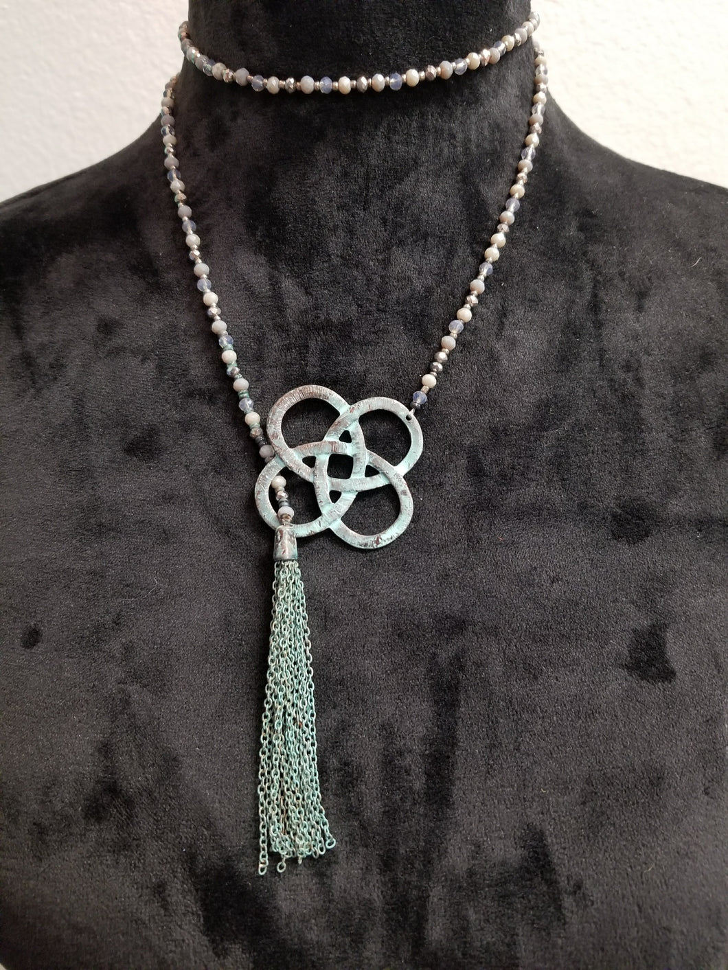 Beaded Chain W/ Turquoise Decor and Tassel