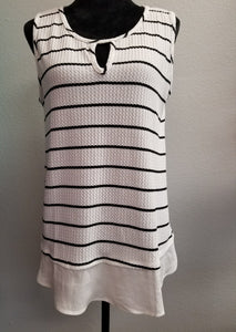 Grey and White Stripped Blouse w/Ruffle