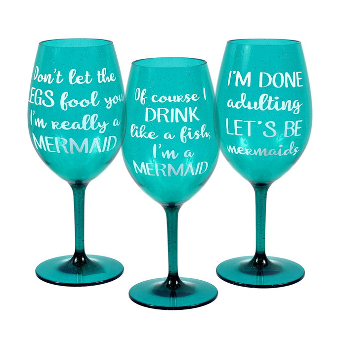 Mermaid Saying Shatterproof Wine Glasses